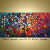 FANTASY TREE LANDSCAPE - Original Modern Abstract Fantasy Painting on large canvas for sale by artist Luiza Vizoli.  Enjoy vivid art at my online store http://ARTbyLuizaVizoli.com  Thanks.