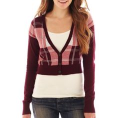 Arizona Long-Sleeve Cropped Plaid Cardigan   found at @JCPenney