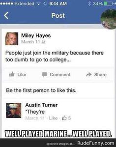So glad the Marine corrected her!