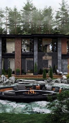 Concept Architecture, Modern Architecture, Dream Home Design, House Design, Lake Tahoe Houses, Fire Pit Bench, Best Architects, Austin Homes, Luxury Homes Dream Houses