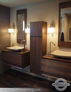 These bathroom vessel sinks are a great modern bathroom design idea!