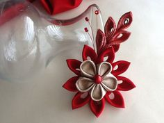 Hair Clip - Red and Gold Kanzashi Flower by Lihini Creations