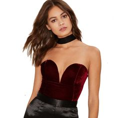 b9f5a46465 Sexy Strapless Bandage Velvet Bodysuit Deep V Neck Backless Sleeveless  Femme Overalls Playsuit Club Party Rompers