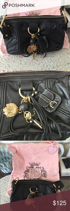 New Juicy Couture Leather Purse Adorable New Black Leather Purse. So Cute with all the Tassels and Charms that adorns the front of this perfect size purse. And it doesn't stop there with the charm, the inside is beautiful with the gold pockets and words that say Shop and Hello? And pockets to keep things organized. And it still smells like Leather! It's nice and soft and will last you forever! Lots of room it this Purse. It measures Approx. 10 x 8 .  7 1/2 inch Drop . This is a very unique…