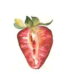 Watercolor print: Half Strawberry by estudio by estudioarbitrario