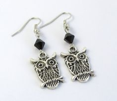 Owl Earrings Black Owl Earrings Animal Earrings by BeadBrilliant, $15.00