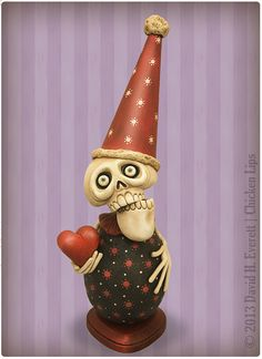 Skelly Love by chickenlipsfolkart on Etsy, $135.00