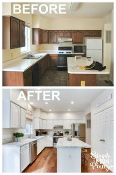 I want to do this to our kitchen fixer upper home! I love white farmhouse style kitchens! I want to paint our kitchen cabinets white just like this kitchen island ideas with seating and white g Kitchen Cabinets Before And After, Update Kitchen Cabinets, Farmhouse Kitchen Cabinets, Farmhouse Style Kitchen, Kitchen Cabinet Design, White Farmhouse, Kitchen Island, Painting Kitchen Cabinets White, Kitchen Backsplash