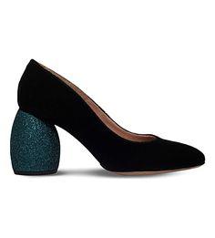 DRIES VAN NOTEN Glitter-heel velvet court shoes
