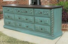 Love the combo of the distressed aqua and dark wood for the bedroom ...