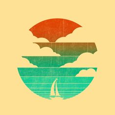 Go West (sail away in my boat) Art Print by Budi Satria Kwan Art And Illustration, Illustrations, Doodle Drawing, Fine Art Prints, Canvas Prints, Graphisches Design, Boat Art, Popular Art, Design Graphique