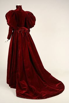 Red Velvet Dress by the House Worth (Back)