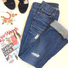 """Slouchy Slim Distressed Jeans NO TRADES. OFFERS WELCOME. PLEASE USE THE OFFER BUTTON. I DO NOT NEGOTIATE PRICE IN THE COMMENTS. Boyfriend style slouchy slim jeans from Charlotte Russe. 99% cotton, 1% spandex. Has a little stretch. Zip fly. Relaxed fit. Can be cuffed or worn uncuffed if you are taller. I am 5'4"""", modeling in last photo. Inseam is 33"""" uncuffed. 14.5"""" at waist laying flat. Rise is 8.5"""". Distressing shown in photos. Pre-loved in excellent condition. Charlotte Russe Jeans…"""