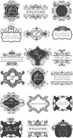 Wedding invitation frames vector