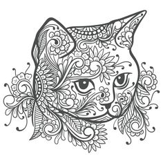 Cat Coloring Page, Colouring Pics, Animal Coloring Pages, Coloring Books, Cat Template, Coloring Pages Inspirational, Printable Adult Coloring Pages, Zentangle Drawings, Mandala Coloring