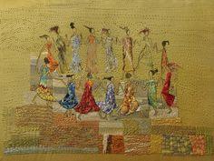 Uma das telas produzidas pelas bordadeiras retrata um grupo de dançarinas (Foto: Arnold Baum Gartner/Divulgação)