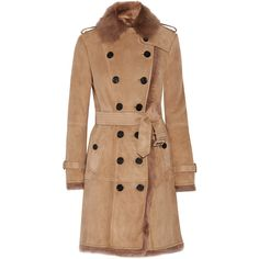 Burberry Toddingwall shearling trench coat ($2,435) ❤ liked on Polyvore featuring outerwear, coats, camel double breasted coat, sheep fur coat, double-breasted trench coats, beige trench coat and camel coat
