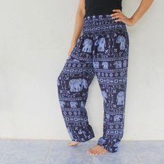 indigo blue elephants rayon harem pants  size by meatballtheory