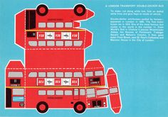 From the 60s a cut out and make London bus.