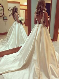 Ball Gown Scoop Neck Satin Tulle Sweep Train with Appliques Lace Wedding Dresses #DGD00022984
