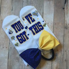 Dance team, cheerleading, color guard lucky socks with matching tuxedo bow