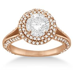 1.00ct Micro Pave Halo Diamond Engagement Ring Setting 14k Rose Gold G-H/VS on Etsy, $3,097.50