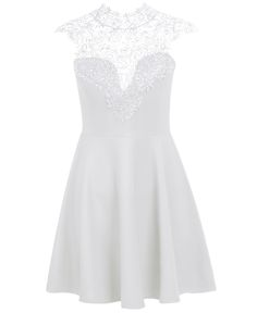 White Contrast Hollow Lace Pleated Dress 18.67