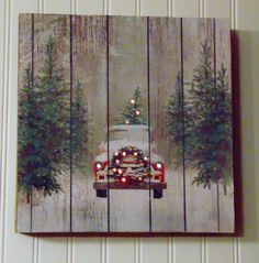 Merry Christmas!  This lovely handmade, rustic wooden Christmas tree featuring a vintage truck sign is full of holiday charm. It is made on a solid wood base with the truck image decoupaged onto it. I then carefully drilled holes in both the tree and truck and added both white and red battery powered lights. The lights require 3 AA batteries each and feature an automatic timers so they come on for 6 hours and off for 18. This sign is full of vintage, country charm and hopefully will be the…