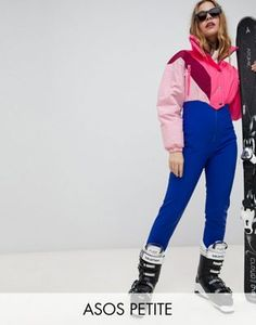 f5d81fc53bc 4505 Petite SKI jumpsuit in color block with funnel neck