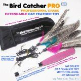 The Bird Catcher PRO EX! Fully Extendable & Retractable Feather Cat Teaser Wand with BONUS Storage Bag + Two (2) Ultra Guinea Fowl Feather Refills Replacement Feathers! Addictive Interactive Cat Toys For Cats (Both Kittens Older Felines).