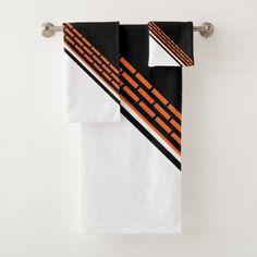 Orange Bricks on Black and White Bath Towel Set - black gifts unique cool diy customize personalize
