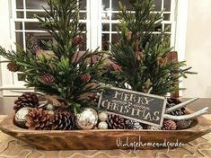Farmhouse christmas table decor small trees ideas for 2019 Country Christmas Decorations, Farmhouse Christmas Decor, Christmas Centerpieces, Primitive Christmas, Rustic Christmas, Xmas Decorations, Cabin Christmas, Christmas Tablescapes, Holiday Decorating