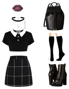 """""""Black"""" by pgha on Polyvore featuring moda, Killstar, Report, Hue, Lime Crime, ASOS Curve y Michael Kors"""
