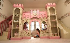 Here is Kids Princess Bedroom Theme Design and Decor Ideas Photo Collections at Kids Bedroom Catalogue. More Picture Kids Princess Bedroom can you found at her Cheap Bunk Beds, Bunk Beds For Sale, Best Bunk Beds, Bunk Beds For Girls, Kid Beds, Playhouse Loft Bed, Castle Playhouse, Princess Playhouse, Indoor Playhouse