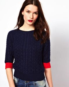 Paul Smith Cable Knitted Jumper in Cotton | This Paul Smith Cable Knitted Jumper is a favourite of ours thanks to strong yet contrasting colour. The short sleeves make it versatile enough to be worn |, Online Shopping, Women's Fashion, Men's Fashion, Technology, Homeware, Dress, Shirt, Shoes, Watches, Jewellery, Playsuits, Accessories, Apparel, Clothes, Bags, Trousers, Online Shop, Buy Now, Fashion, Style, Technology, The Lust List | Knitwear, Women, £100 To £199.99 | Paul Smith