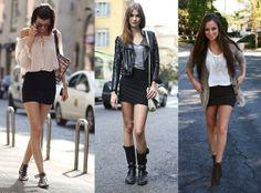 Falda negra 3 look diferentes.