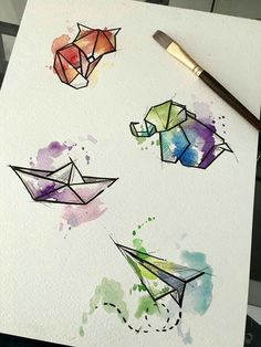 Watercolor Origamis by Javi Wolf - Inspiration - . - Watercolor origami by Javi Wolf – inspiration – - Easy Watercolor, Watercolor Design, Tattoo Watercolor, Watercolor Water, Geometric Watercolor Tattoo, Watercolor Wolf, Step By Step Watercolor, Watercolor Sketch, Watercolor Animals