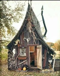 "Building by The Rustic Way~Looks the cutest ""Witch house"" I've ever seen! Building by The Rustic Way~Looks the cutest Witch house I've ever seen! Witch Cottage, Witch House, Fairy Houses, Play Houses, Tiny House, House Inside, Crooked Tree, Crooked House, Crooked Man"