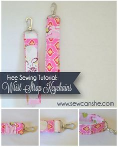 "I'm so excited to share this tutorial with you because for a couple of  years now my friend Sarah and I have been making wrist strap keychains for  our own use (they are so handy!), for friends, for teacher gifts, and even  for craft fairs. I have gradually experimented with different sizes  and techniques until I came up with this perfect (IMHO) design. Why is it  perfect??? Well, it fits the 1"" swivel clip exactly, you can sew it up in a  snap without breaking any needles, it comes in two ..."