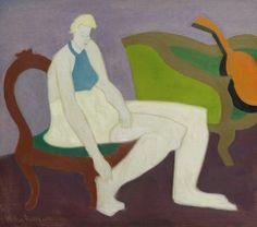 Milton Avery (American, 1885-1965), Femme et Orange Mandoline, 1947. Huile sur toile, 30 x 34.
