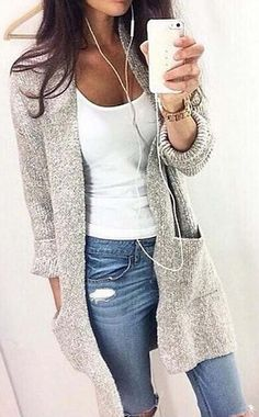 Start from $33.99! High-quality with low price. This casual comfy grey open knit cardigan sweater is a total must-have this fall for any fashionista! That style is so in and the color too! Collect more now at ChicNico.com