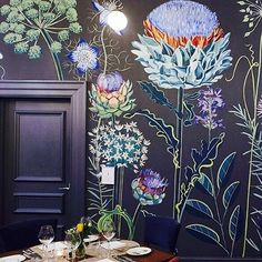 Obsessive compulsive crush on @lucytiffney wall murals. This wall art is beautiful!