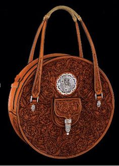 Tooled leather bag by Pedro Pedrini, master saddle maker and silversmith. - via Stonerancher - #CowgirlChic