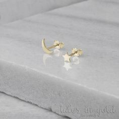 Moon Star Earrings, Gold Mismatched Earrings, Tiny Gold Earrings, 14K Gold Earrings, Yellow Gold, Gold Stud Earrings, Gift For Daughter, Mix And Match Earrings, Tiny Gold Moon Star Studs, 9K Gold Studs ★★★★★★★★★★★★★★★★★★★★★★★★★★★★★★★★★★ A shining moon and a sparkling star, a perfect
