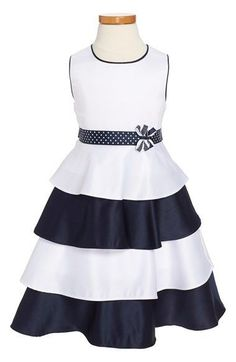 Silky tiers in crisp navy and white pretty up the twirly skirt of a sleeveless party dress edged in contrast piping and cinched with a polka dot ribbon sash at the waist. Little Girl Outfits, Little Girl Dresses, Kids Outfits, Girls Dresses, 50s Dresses, Sport Outfits, Toddler Girl Dresses, Toddler Girls, African Fashion Dresses
