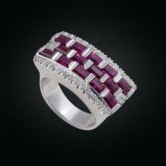 Exquisite White Gold Ring with Emerald-Cut Rubies & Diamonds. Emerald Cut, White Gold Rings, Cocktail Rings, Cuff Bracelets, Diamonds, Passion, Jewelry, Design, White Gold Wedding Rings
