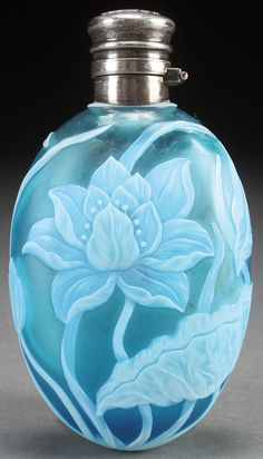An English cameo glass dresser bottle, probably Thomas Webb.