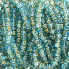 Limited Stock 2/0 3 Cut Transparent Aquamarine Picasso Firepolish Czech Glass Seed Bead Strand (DW165)