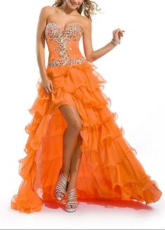 Stunning Chiffon A-line Strapless Sweetheart Beaded Ruffled High Low Prom Dress