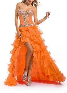 3db9684ebc9 Stunning Chiffon A-line Strapless Sweetheart Beaded Ruffled High Low Prom  Dress